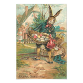 Easter Bunny Painted Colored Egg Children Cart Photo Print
