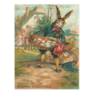 Easter Bunny Painted Colored Egg Children Cart Postcard