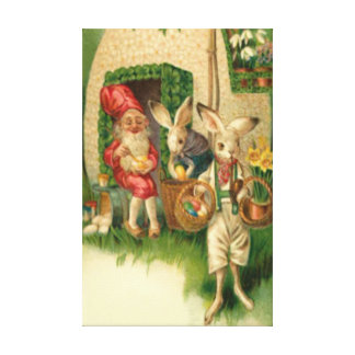 Easter Bunny Painted Colored Egg Flower Gnome Canvas Print