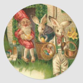Easter Bunny Painted Colored Egg Flower Gnome Classic Round Sticker