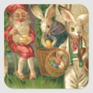 Easter Bunny Painted Colored Egg Flower Gnome Square Sticker