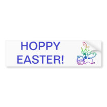 Easter Bunny painting an egg Bumper Sticker