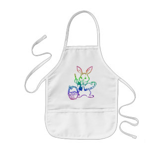 Easter Bunny painting an egg Kids' Apron