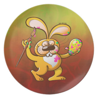 Easter Bunny Painting an Egg Plate