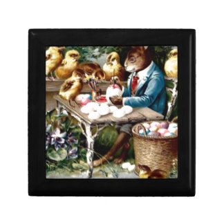 Easter Bunny Painting Egg Chick Jewelry Box