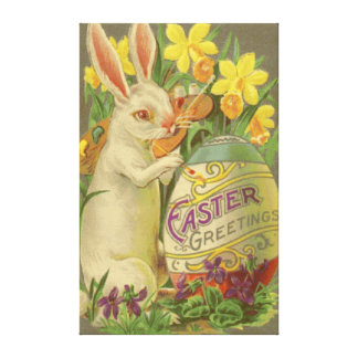 Easter Bunny Painting Egg Daffodil Crocus Canvas Print