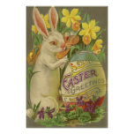 Easter Bunny Painting Egg Daffodil Crocus Poster