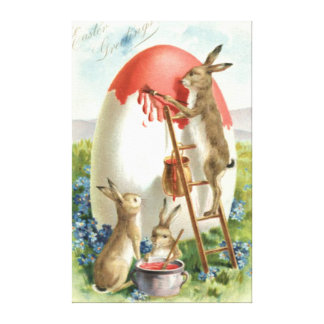 Easter Bunny Painting Egg Forget Me Not Canvas Print