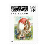 Easter Bunny Painting Egg Forget Me Not Postage Stamp