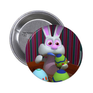 Easter Bunny Painting Eggs Button