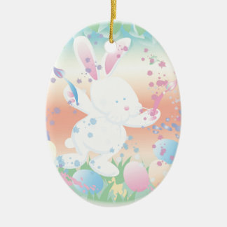 Easter bunny painting eggs ceramic ornament