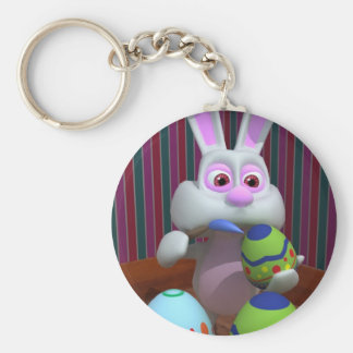 Easter Bunny Painting Eggs Keychain