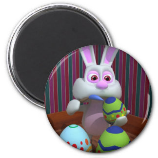Easter Bunny Painting Eggs Magnet