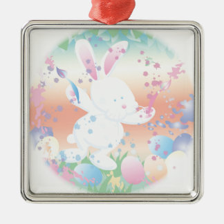 Easter bunny painting eggs metal ornament