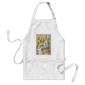 Easter Bunny Painting Painted Colored Egg Daffodil Adult Apron