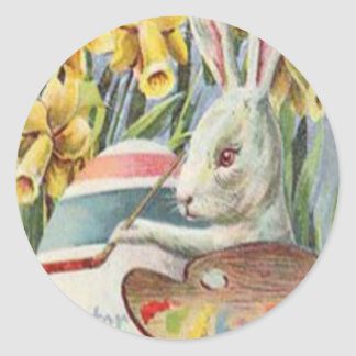 Easter Bunny Painting Painted Colored Egg Daffodil Classic Round Sticker