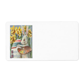 Easter Bunny Painting Painted Colored Egg Daffodil Label