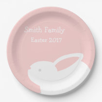Easter Bunny Paper Pink Paper Plates w/ Your Name