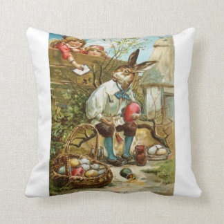 Easter Bunny Parade Artists Antique Post Cards Pil Throw Pillow