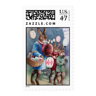Easter Bunny Parade from Gorgeous Antique PostCard Stamp