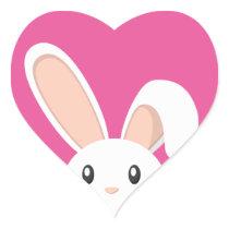 Easter Bunny peeping Heart Sticker