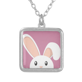 Easter Bunny peeping Silver Plated Necklace