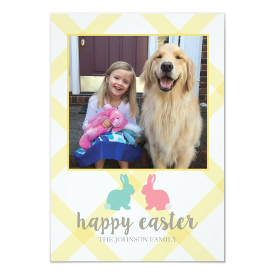 Easter Bunny Photo Card Yellow