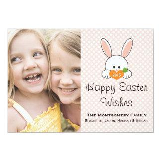 "Easter Bunny Photo Cards Pink Polka Dot 5"" X 7"" Invitation Card"