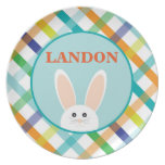 Easter Bunny Plaid - Personalized Melamine Plate