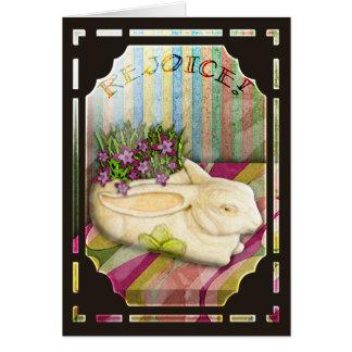 Easter Bunny Planter in Florist Shop Window Card