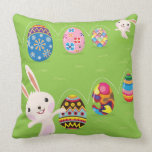 Easter bunny playful with painted eggs pillows