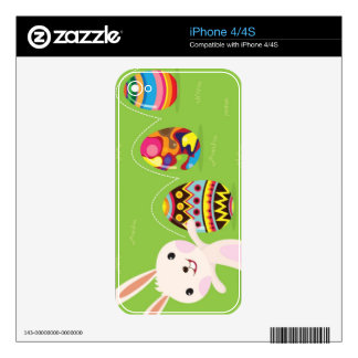 Easter bunny playful with painted eggs iPhone 4 decals