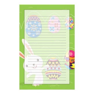Easter bunny playful with painted eggs stationery