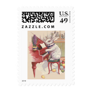 Easter Bunny Playing Piano Hyacinth Postage Stamp