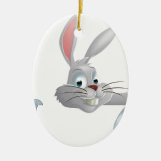 Easter bunny pointing down ceramic ornament