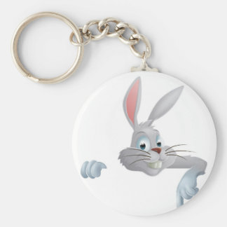 Easter bunny pointing down keychains