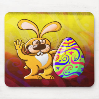 Easter Bunny Proud of his Big Decorated Egg Mousepad
