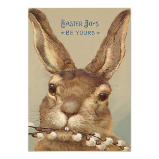 Easter Bunny Pussy Willow Floral Card