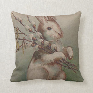 Easter Bunny Pussy Willow Throw Pillow