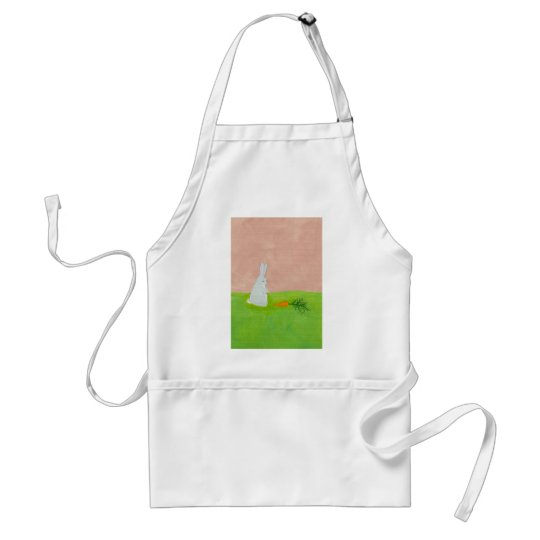 Easter bunny rabbit carrot art colorful painting adult apron