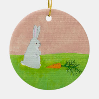 Easter bunny rabbit carrot art colorful painting christmas tree ornaments