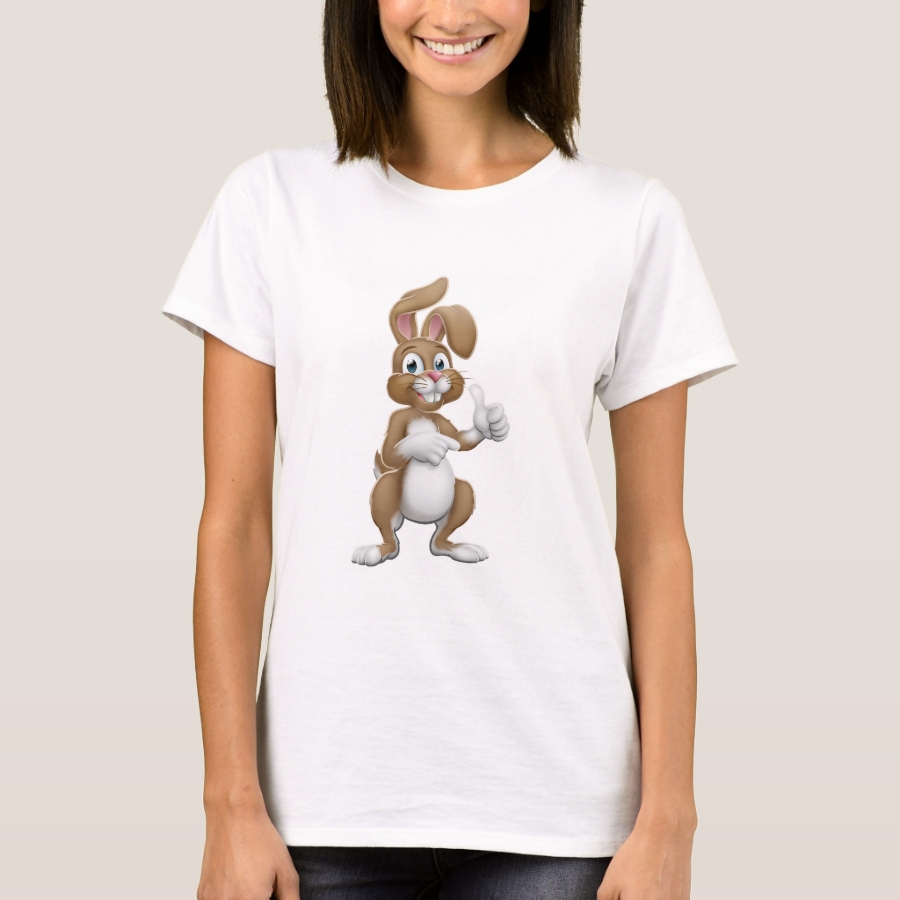 Easter Bunny Rabbit Cartoon Thumbs Up and Pointing T-Shirt - Best Selling Long-Sleeve Street Fashion Shirt Designs