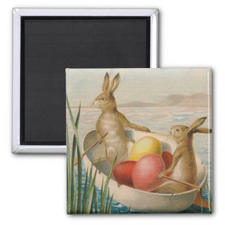 Easter Bunny Rabbit Colored Egg Boat 2 Inch Square Magnet