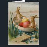 """Easter Bunny Rabbit Colored Egg Boat Card<br><div class=""""desc"""">Vintage Easter print</div>"""