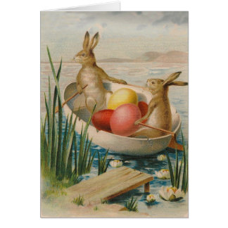 Easter Bunny Rabbit Colored Egg Boat Greeting Card