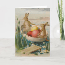 Easter Bunny Rabbit Colored Egg Boat Holiday Card