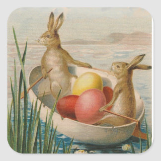 Easter Bunny Rabbit Colored Egg Boat Square Sticker