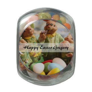 Easter Bunny Rabbit family and eggs Jelly Belly Candy Jar
