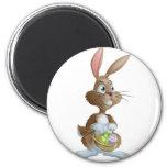 Easter bunny rabbit holding Easter eggs basket Refrigerator Magnet