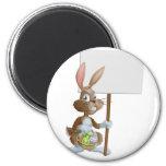 Easter bunny rabbit holding sign fridge magnets